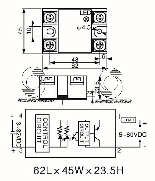 Ssr-40dd 40a 3-32vdc Input 5-60vdc Output Dc To Dc Ssr