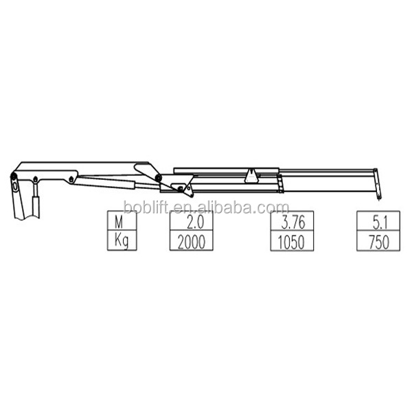 Folding arm small boat crane with hydraulic winch SQ2ZA1