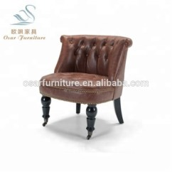 Tub Chair Brown Leather Woven Lawn Luxury Tufted Accent Bouji With Casters