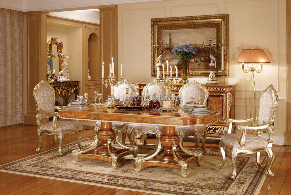 Victoria Style Carved Wooden Dinner Table With Chairs
