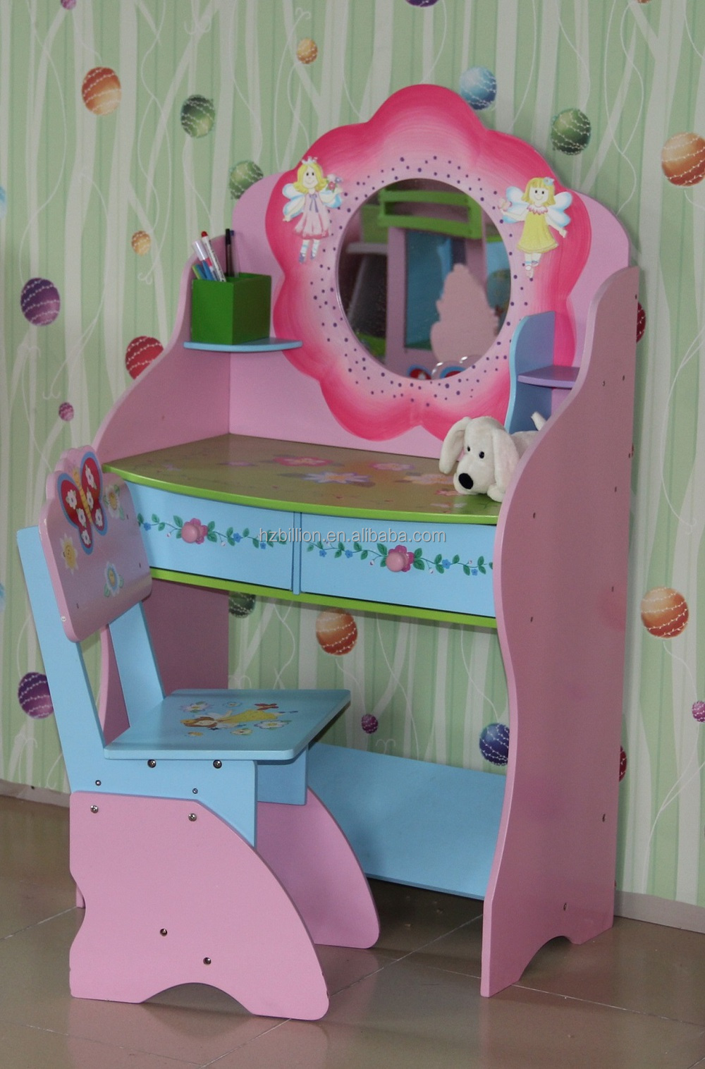 Sweetheart Wooden Children Dressing Table With Stool Kids
