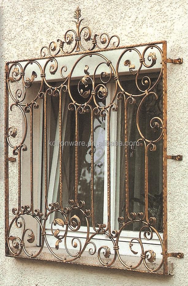 Decorative Metal Flowers Wrought Iron Window Grill Design