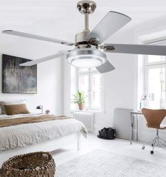 get quotations rainierlight modern smart stainless steel ceiling fan lamp remote control 3 speed led 3 [ 1000 x 1000 Pixel ]
