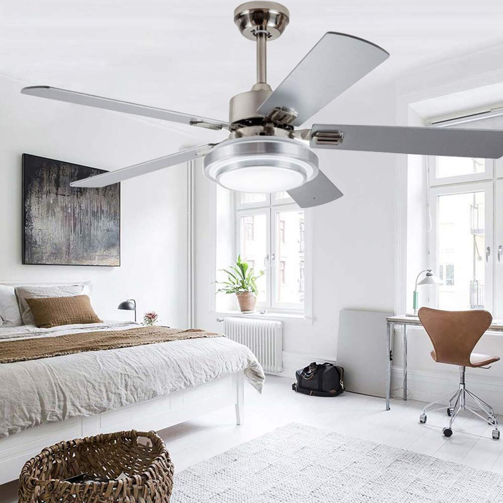hight resolution of get quotations rainierlight modern smart stainless steel ceiling fan lamp remote control 3 speed led 3