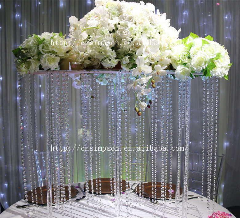 Tall Square Acrylic CenterpieceCrystal Wedding Flower