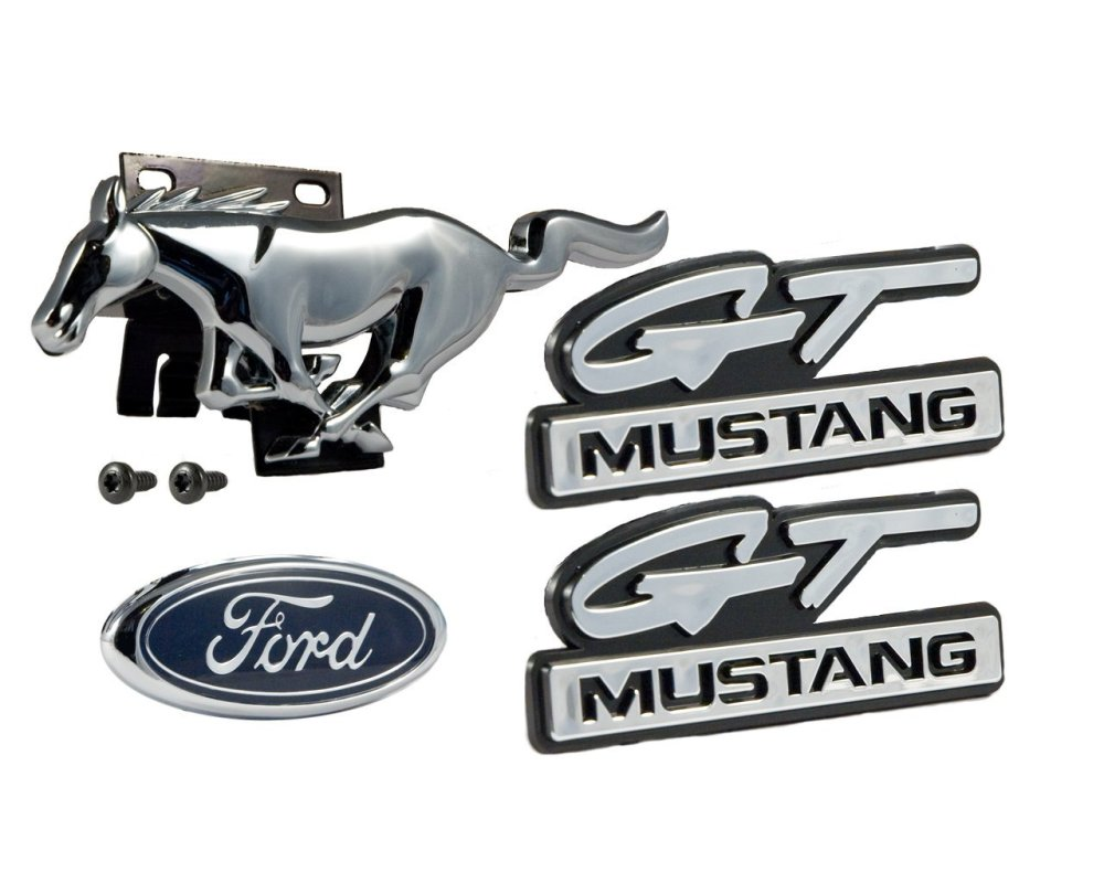 medium resolution of 1994 1995 ford mustang gt 5 0l 4pc emblem set front grille running horse
