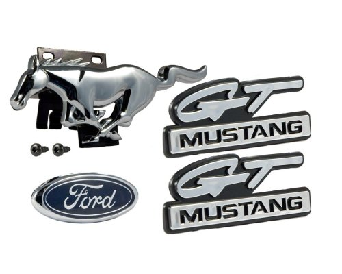 small resolution of 1994 1995 ford mustang gt 5 0l 4pc emblem set front grille running horse