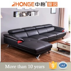 L Shaped Black Leather Sofa Set Beds Shops Oxford Stainless Steel Genuine Corner Latest Living Room