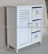 3 Drawers White Wood Storage Cabinet Wooden Cabinet With ...