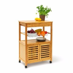 Kitchen Trolley Cart Professional Knives Bamboo Wooden Cabinet Storage With Wheels Furniture