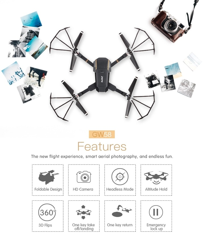 Global Drone Gw58 Foldable Dron Wifi Control With 720p Hd