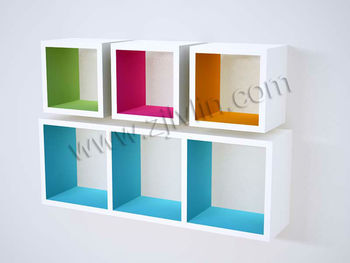 MDF Cube Wall Shelf, Inner Color Cube Shelf, Floating