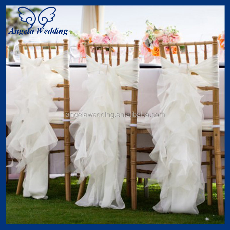 ruffle chair sashes gym with twister seat ch098c wholesale nice cheap organza wedding ruffled curly willow champagne sash