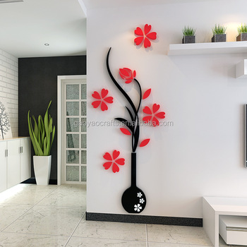 living room flower vases wall storage cabinets acrylic 3d plum vase stickers home decor creative decals entrance painting