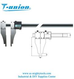 aluminum inner groove digital caliper digital caliper with nib style jaws [ 1000 x 1000 Pixel ]