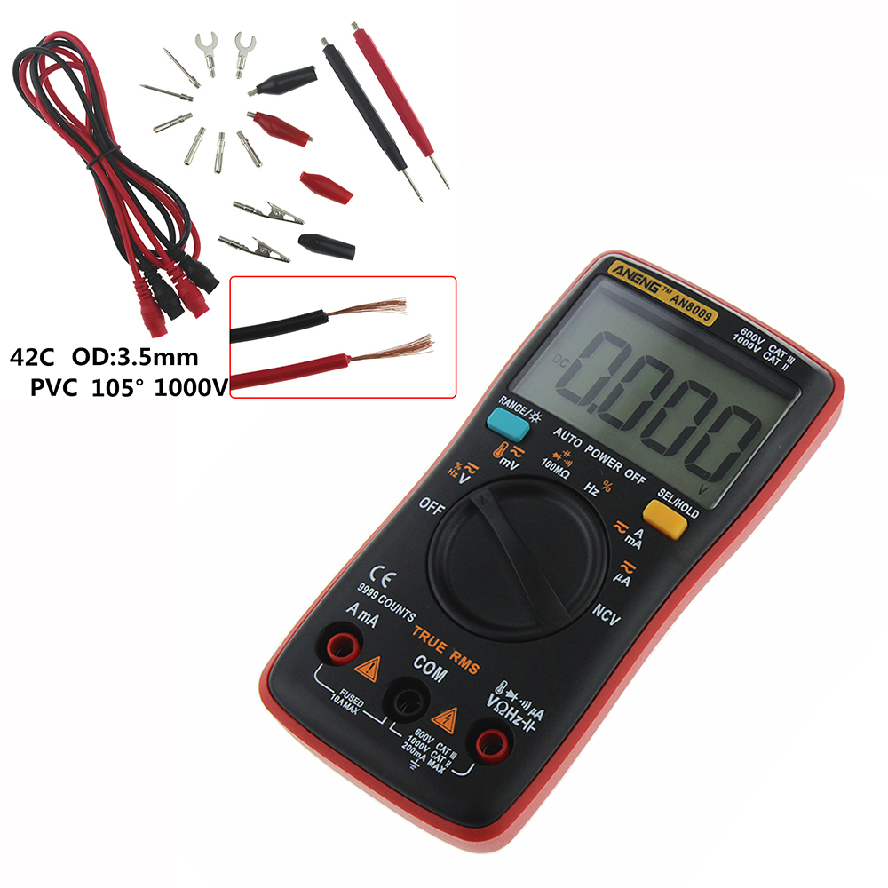 HTB1 zrCcdLO8KJjSZPcq6yV0FXaS AN8008 AN8009 Auto Range Digital Multimeter 9999 counts With Backlight AC/DC Ammeter Voltmeter Ohm Transistor Tester multi meter