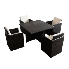 Outdoor Bistro Table And Chairs Set Steel Chair Cushions Garden Black Square With Glass Top