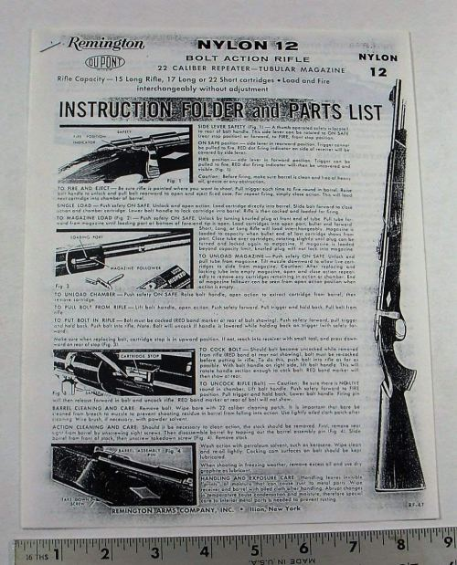 small resolution of remington gun owners manual model nylon 12 bolt action 22 rifle