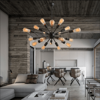 Modern Interior Decoration Hanging Lamp Edison Bulbs Chandelier Black Brown Rusted Color Wrought Iron