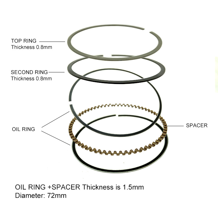 Security Payment 72mm 250cc Motorcycle Piston Rings For