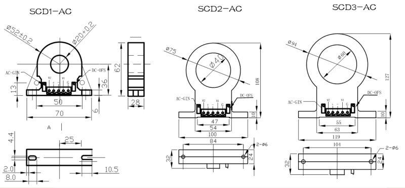 Scd-ac Series Hall Effect Ac Current Sensor 10ma..100ma