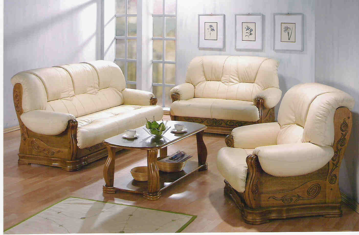set of leather sofas 3 seater sofa bed with storage wood buy product on alibaba com