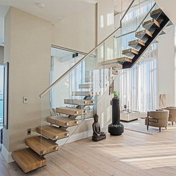 Modern Design Stainless Steel Staircase Railing Curve Duplex   Stainless Steel Staircase Railing With Glass   Infill   Custom Glass   Indoor   Panel   Modern