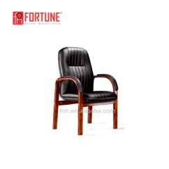 Black Leather Reception Chairs Hanging Chair Indoor Wooden Guest Waiting Room Office Fohf 52