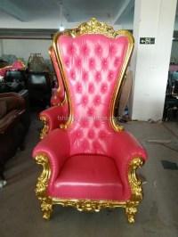 Rose chaise trne roi royale, fauteuil bergere en pu ...
