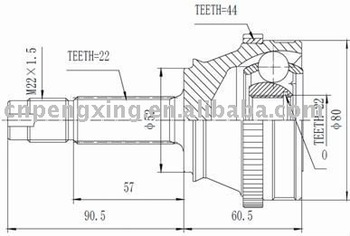 Auto C.v. Joint For Fiat Fiorino 1.7 Tds 93-/palio-siena 1