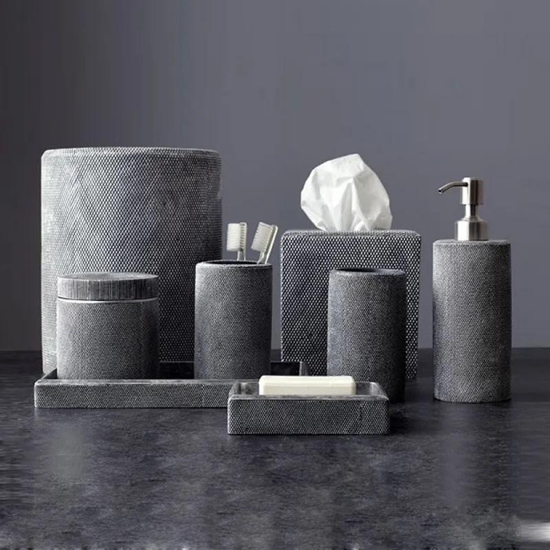 ensemble d accessoires de salle de bains en resine effets de couleur gris fonce antique haute qualite buy hotel ensembles d accessoires de salle de