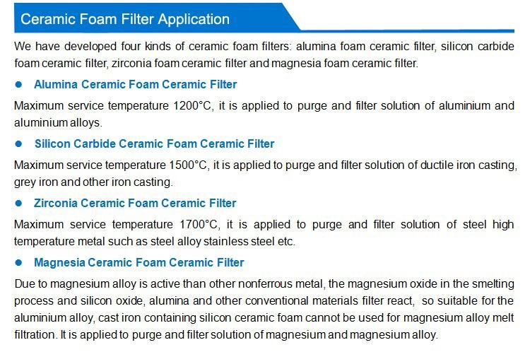 Al2o3 Sic Zro2 Mgo Foam Ceramic Filter Material