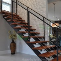 Contemporary Floating Staircase With Wood Tread Invisible ...