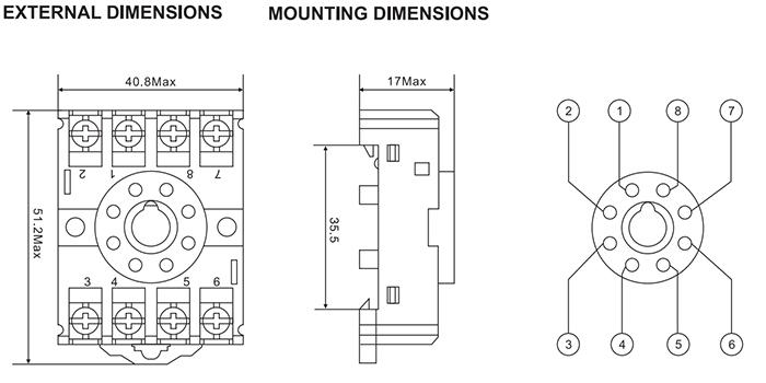 Meishuo Pf083a Socket 8pin Embedded Screw Relay Socket
