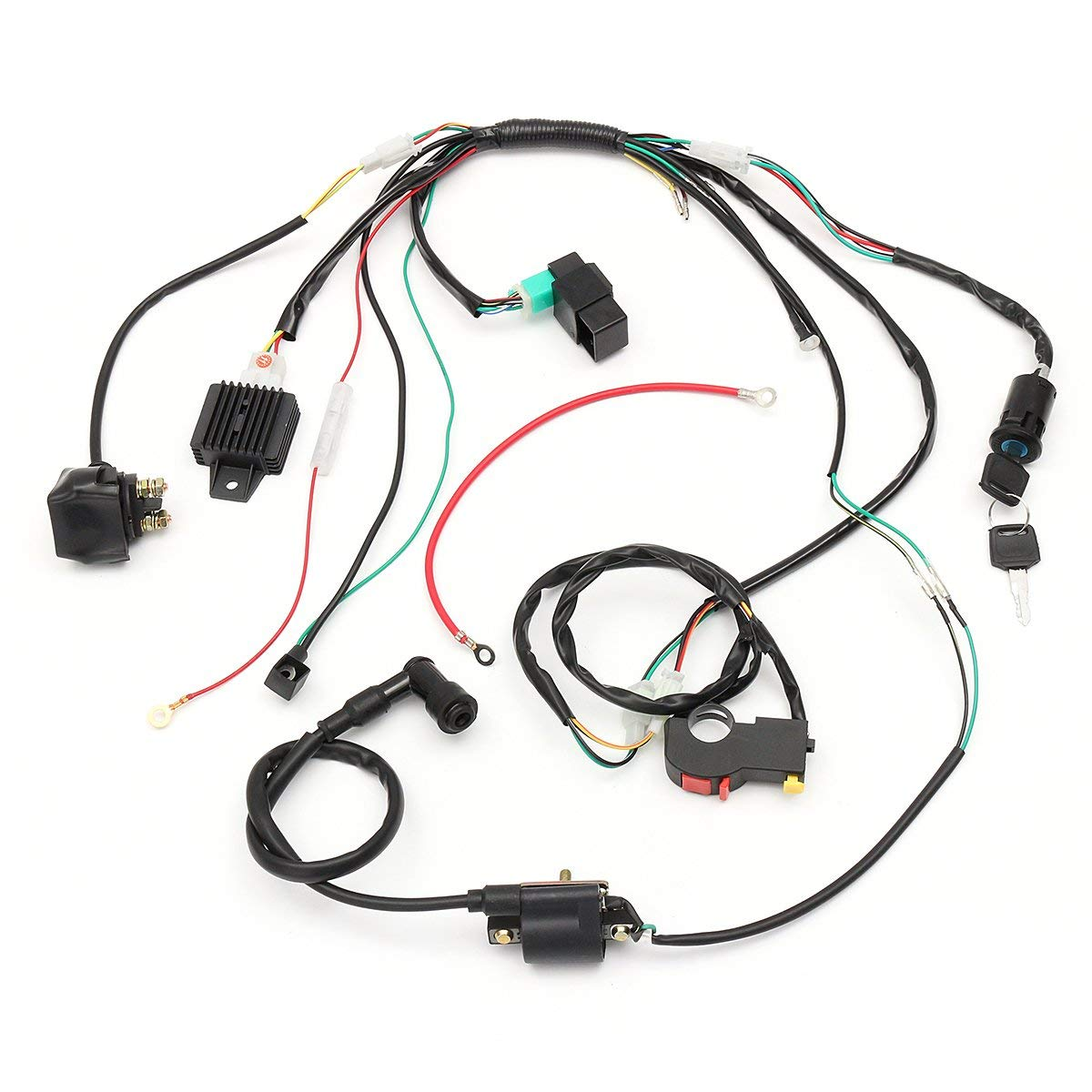 hight resolution of hitsan wiring harness loom solenoid coil rectifier cdi for 50cc 70cc 90cc 110cc 125cc atv quad