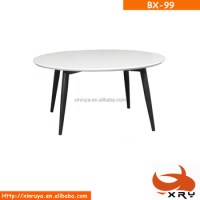 Modern White High Gloss Mdf Round Coffee Table With Metal ...
