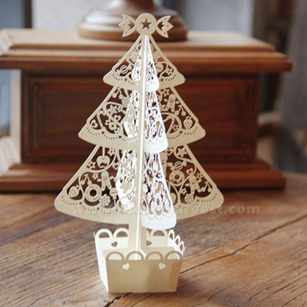 Merry Christmas 3d Handmade Laser Cut Christmas Bell Tree