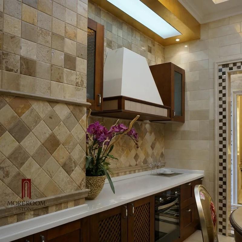 carrelage mural de cuisine en marbre blanc et beige mosaique en pierre photo carrelage de salle de bains design image buy photos de carreaux muraux