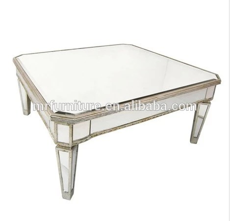 silver and gold rimming square mirrored coffee table for living room furniture buy square mirrored coffee table mirrored living room
