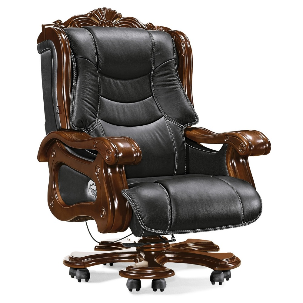 Heated Sale Executive Leather Office Chair Wooden Swivel