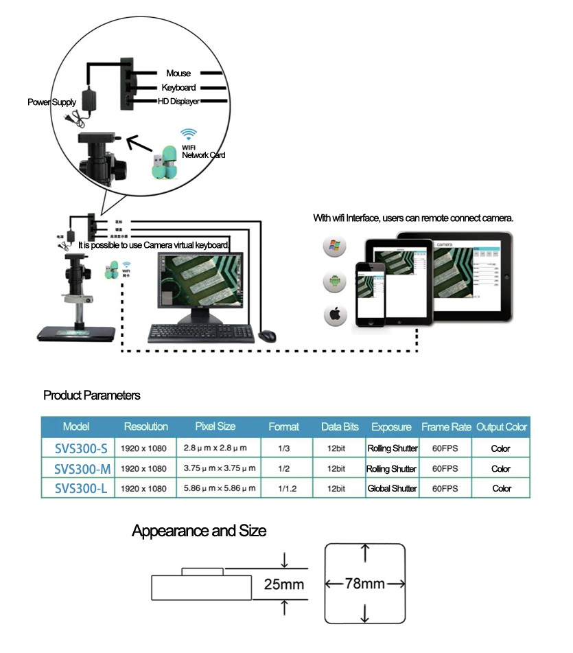 hight resolution of svs300 m smart vision system 1 2 cmos 60fps industrial microscope wifi