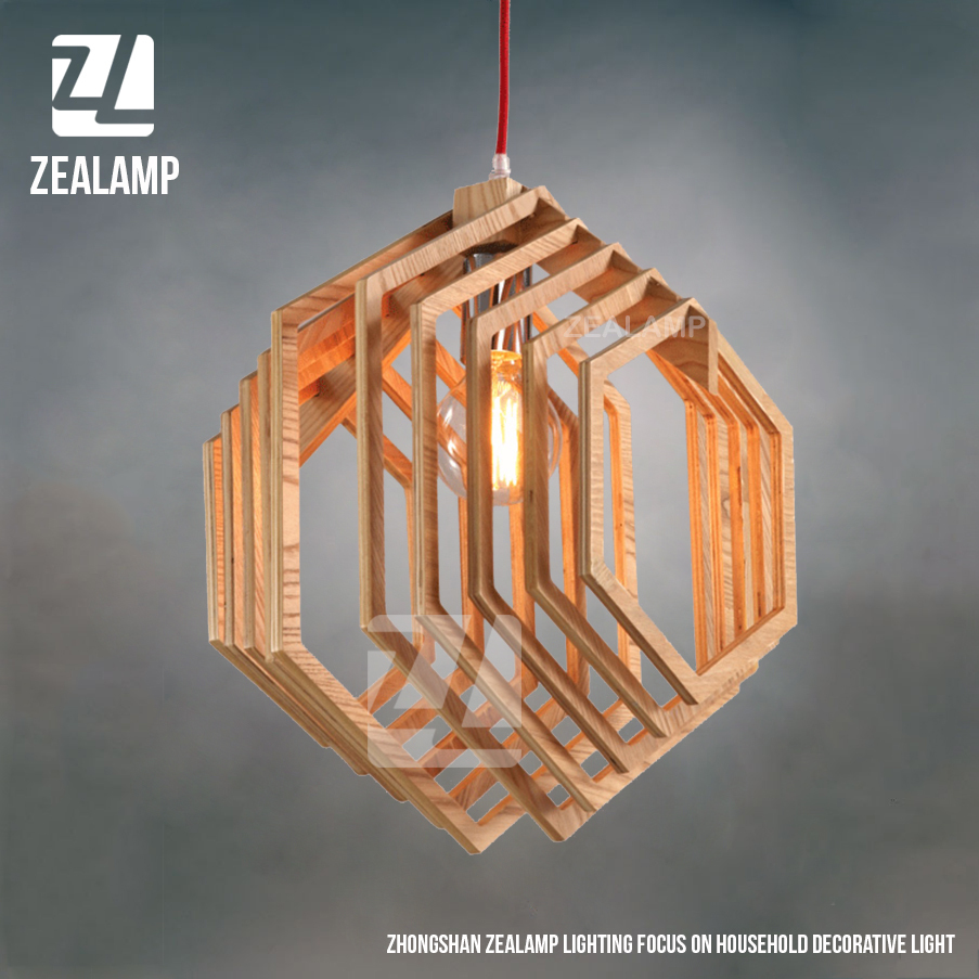 living room lighting fixtures designs with chocolate brown sofa nordic creative brief wooden pendant lamps hexagon shape ...