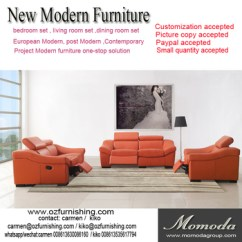 Luxury Leather Living Room Sets Western Decor Jr8021b Modern Italian Full Thick Orange Cow Italy Recliner Sofa Set