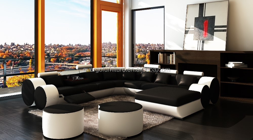 Recliner U Shape Sectional Leather Big Sofa With Coffee Table : u shaped sectional leather - Sectionals, Sofas & Couches