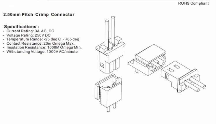 Jst Connector 2 Pin 2.5mm Pitch Connector Wire To Board