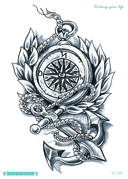 Tato Hitam Putih : hitam, putih, Rocooart, LC303, Compass, Large, Tatoo, Sticker, Tatuagem, Black, White, Temporary, Tattoo, Stickers, Vintage, Style, Taty|large, Tatoo|, Stickertatoo, AliExpress