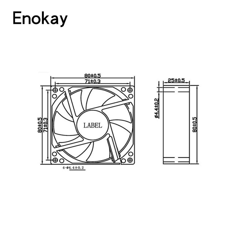 Enokay 8025 8 cm 80x80x25mm 12 V DC alta tasa de flujo