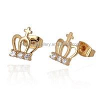Uniqe Design Crown Women Golden Extra Long Post Stud ...