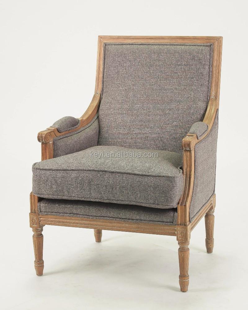 Living Room Chair Use Antique Wood Turedo Linen Grey