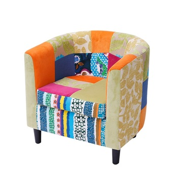 tub fabric accent chair patchwork patio lounge chairs lowes contemporary club living room furniture no k3